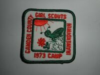 "Vintage 70s Girl Scouts Camden Co 1973 Camp Inawendiwin Patch 3""x3"""