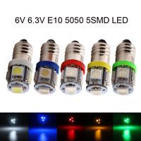 100Pcs DC 6V 6.3V E10 LED 5050 5 SMD Screw Led Bulb Light Pinball Battery Lamp