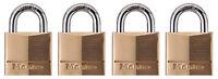 Master Lock Padlock, Solid Brass Lock, 3/4 in. Wide, 120Q (Pack of 4-Keyed Al...