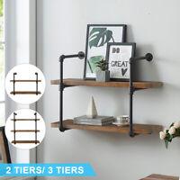 2/3 Tier Wall Shelf Industrial Iron Pipe Shelving Mounted Bookshelf Bracket