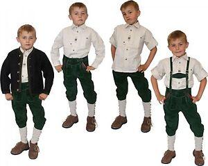 Lederhose + Träger Trachten Kniebundlederhose  Trachtenlederhose Kinder grün