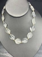 """Vintage bohemian flat Beaded Clear Opaque Geometric  colored necklace 16"""""""