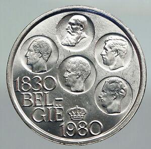 1980 BELGIUM Kings Leopold I II III & Albert I OLD Silver 500 Francs Coin i92231
