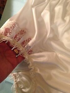 Vintage Style White NYLON PANTIE Long Wide Double GUSSET WHITE LACE INSET