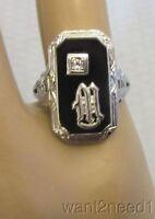 20s antique 18K WHITE GOLD ONYX DIAMOND RING sz 5 art deco rectangle filigree