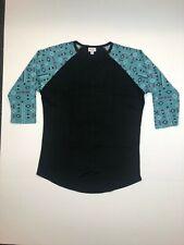 LuLaRoe Randy Black Blue Floral Pattern Tee SUPER SOFT L