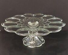 "Vintage Crystal Pedestal Cake Plate 11-1/2"" Round Gyroscope Patterned Stunning"