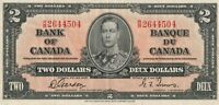 Vintage Canada 2 Dollar Banknote 1937 Gordon Towers Pick 59b R/B Crisp VF/XF