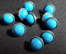 12mm Metal Round Brads with 10mm Turquoise Pearl Bead (Pack of 10)