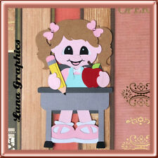 SCHOOL DAYS GIRL AT DESK EMBELLISHMENT card toppers scrapbooking