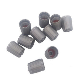 10Pcs/Bag Plastic Gray Tire Valves Stem Cap TPMS Tire Cap with Gasket Universal