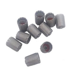 10Pcs/Bag Plastic Gray Tire Valves Stem Cap TPMS Tire Cap with Gasket Universal