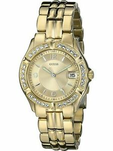 New GUESS U85110L1 Stainless Steel Gold-Tone Crystal Accented Women's Watch