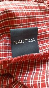 NAUTICA RED TATTERSAL PLAID CHECK (2) TWIN FITTED SHEETS-PRE-OWNED