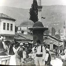 Vtg Keystone Magic Lantern Slide Photo Sarajevo Bosnia Austria Hungary People
