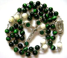 RARE SEVEN SORROWS ROSARY GREEN TIGER EYE BEAD BEADS CRUCIFIX CATHOLIC NECKLACE
