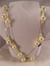 VTG. MARKED 14K GOLD FILLED FUAX PEARLS NECKLACE 36""