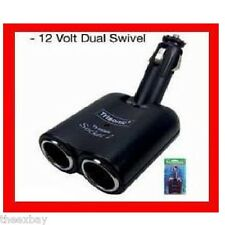 12V 12 Volt Dual Outlet SWIVEL Power Adapter Cigarette Car Charger GPS Cell