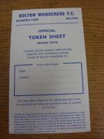 1977/1978 Bolton Wanderers: Official Token Sheet, Unused. Good condition unless