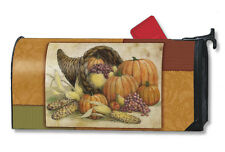 """HORN OF PLENTY CORNUCOPIA AUTUMN FALL MAGNETIC MAILBOX COVER 1"""" NUMBERS USA MADE"""