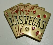 Vintage 1970s Poker Hand Royal Flush Diamonds LAS VEGAS Brass Belt Buckle Rare