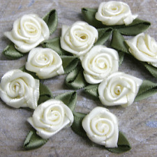 Rose buds, satin ribbon flowers rosebuds flowers,scrap booking 30x17mm 50 pack