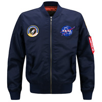 2019 Fashion US MEN JACKET EMBROIDERED NASA MILITARY ARMY FLIGHT BOMBER JACKET