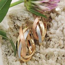 20 mm Creolen dreifarbig 375er echt Gold Ohrringe 9 Karat rose/gelb/weiß matt