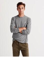Chemise homme Abercrombie & Fitch a&f nouvelle à manches longues Icône Crew Tee T-shirt gris (S)