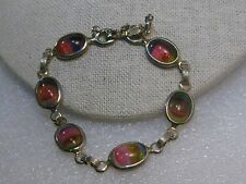 """Vintage Gold Tone Sarah Coventry Rainbow Glass Bracelet, 7.5"""", safety chain"""