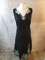 Marks and Spencer Black Linen Blend Embroidered V Neck Sleeveless Dress Size 18
