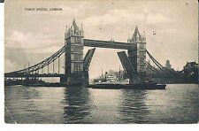 POSTCARD TOWER BRIDGE LONDON OPEN FOR STEAMER 1913 HASTINGS