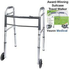 Vaunn Medical Folding Travel Rolling Walker with Wheels and Detachable Legs