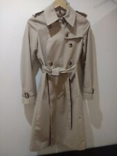 Authentic Burberry Long Beige Double Breasted Cotton Trench Coat Classic uk6