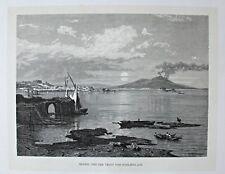 Italien, Neapel, Napoli, Vesuv, Posilippo - Gesamtansicht - Holzstich 1885