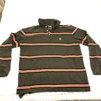 Large Brooks Brothers Long  Sleeve Polo Shirt size Large Gold Logo Has Stain