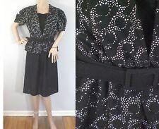 Vintage 80s Black & Silver Fancy Sparkly Peplum Knee Length Belted Dress Medium