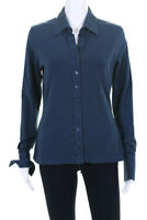 Anne Fontaine Womens Long Sleeve Button Down Blouse Top Blue Cotton Size EUR 42