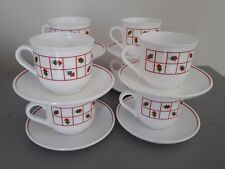 Vintage Arcopal France Red Green Squares milk glass cups and saucers x8