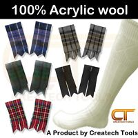 Scottish Kilt Long Hose Socks & Flashes Various Tartan Traditional Highland Wear