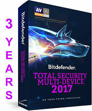 Bitdefender Total Security 2017 I 3 YEAR 1 DEVICE IPRE ACTIVATED I NO KEYI NO CD