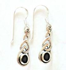 Schwarz Onyx Ohrringe keltisch 925 Sterling Silber Ohrhänge Celtic Neu