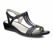 ECCO UK 6.5 to 7 EU 40 Black Leather Touch 25 T Strap Low Wedge Heel New Sandals