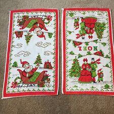 Two (2) Vintage Parisian Prints Pure Linen Christmas Tea Kitchen Towels Nice