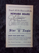 Vintage 1934 Newark Bears Baseball Player Roster and Training Schedule 664