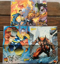 3 Wizard Centerfold Posters Fantastic Four, Thor, Wolverine Marvel Super Heroes