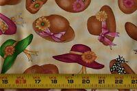 By 1/2 Yd, Ladies Straw Hats on Cream & Tan Quilt Cotton, RJR/Dan Morris, N3588
