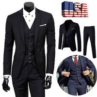 Men Slim Business Formal Wedding 3-Piece Suit Leisure Blazer Business Coat DSP