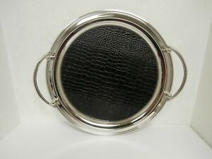 """Ascot S.S /Black Leather Insert 15"""" Round ServingTray Store Display"""