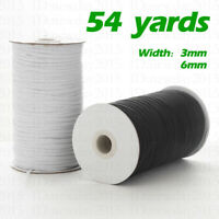 54 Yards White Black Elastic Band String Sewing Cord String 1/8 1/4 Inch